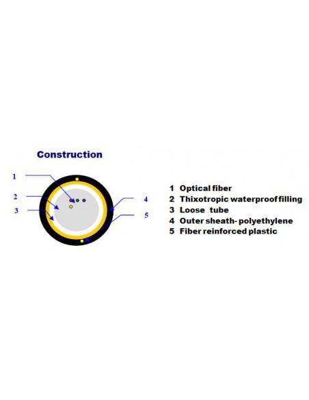 12F EXTRALINK AERIAL FIBER OPTIC CABLE 12J SM G652 D DIAMETER 5.2MM 0,5KN WITH FRP FUJIKURA FIBERS INSIDE